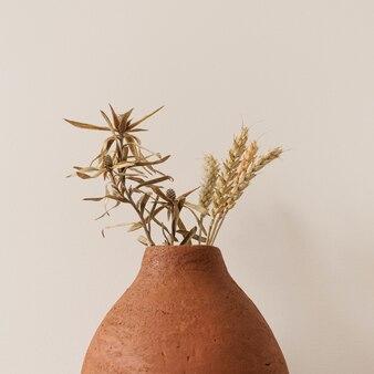 Centeio seco, hastes de trigo em panela de barro vermelho sobre branco