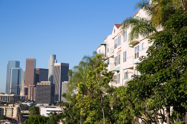 Centro cidade, la angeles, skyline, califórnia