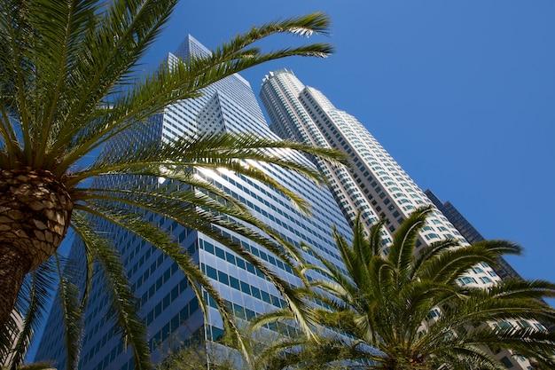 Centro da cidade de los angeles skyline califórnia palmeiras