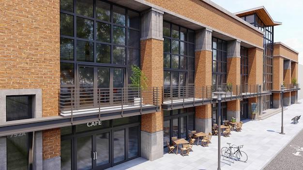 Centro de comércio e escritórios com muitas lojas, cafés e restaurantes.