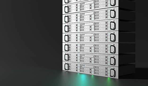 Centro de servidores dark com sistemas de armazenamento de computadores