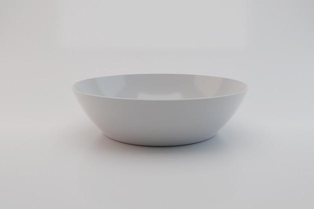 Cerâmica de tigela branca isolada no fundo branco; ilustração 3d