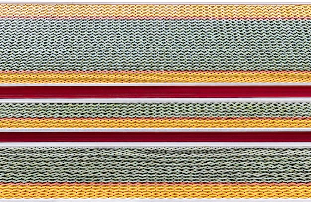 Cerâmica padrão do telhado do templo tailandês