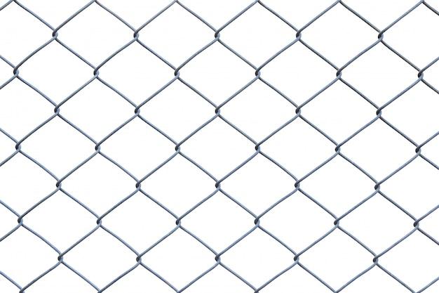 Cerca de arame de metal ou gaiola em fundo branco com traçado de recorte