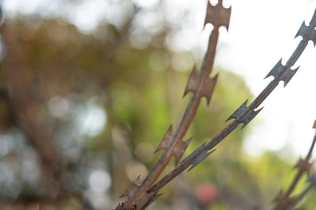 Cerca de close-up com arame farpado contra um fundo desfocado