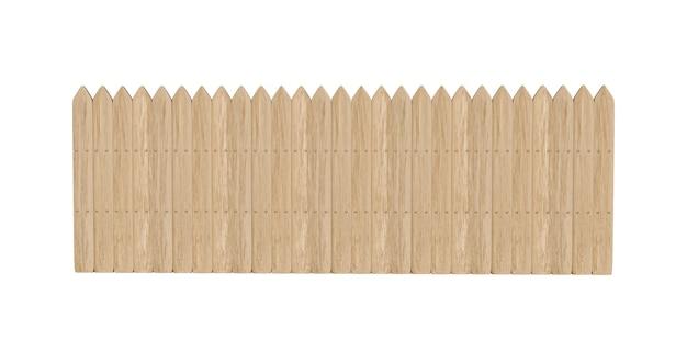 Cerca de madeira 3d na fazenda isolada sobre o branco com traçado de recorte