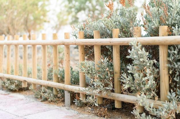 Cerca de madeira decorativa e arbustos verdes brancos