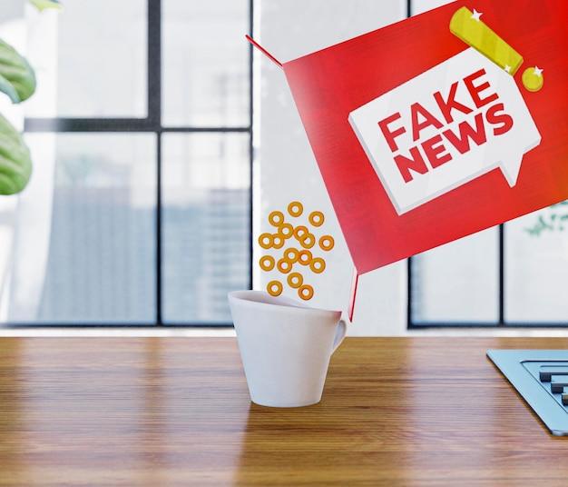 Cereais com notícias falsas caindo na caneca