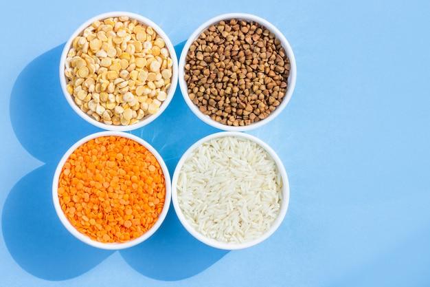 Cereais diferentes sortidos.
