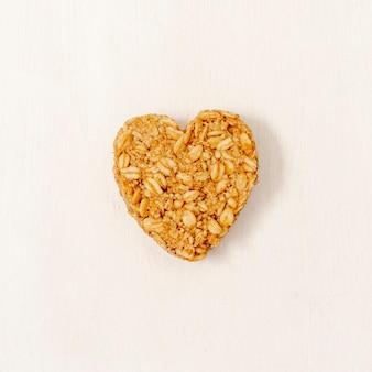 Cereal de forma de coração de close-up