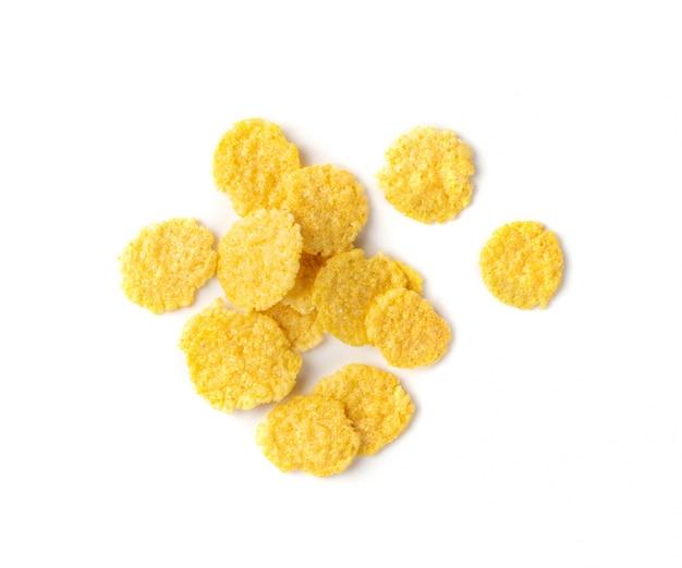 Cereal de milho amarelo no café da manhã isolado
