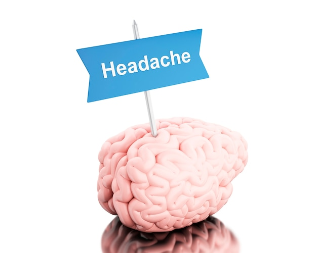 Cérebro 3d com uma tabuleta e dor de cabeça da palavra.