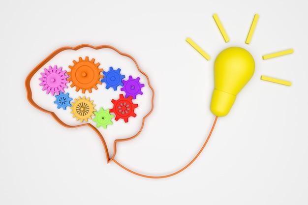 Cérebro 3d e engrenagens para mecanismo de conceito boa ideia para banheira de luz