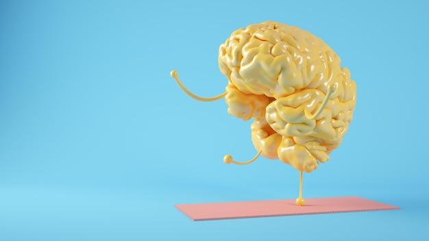 Cérebro amarelo fazendo exercícios de ioga conceito de renderização em 3d