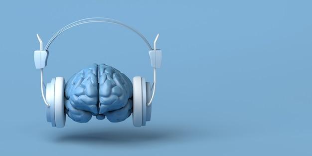 Cérebro com fones de ouvido criatividade música ilustração 3d copiar espaço