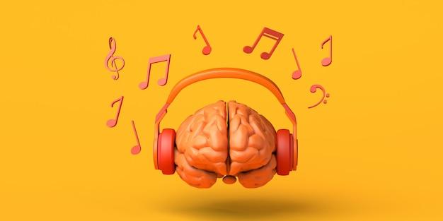 Cérebro com fones de ouvido e notas musicais criatividade copiar ilustração 3d do espaço