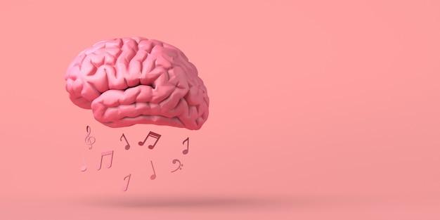 Cérebro com notas musicais criatividade copiar ilustração 3d do espaço