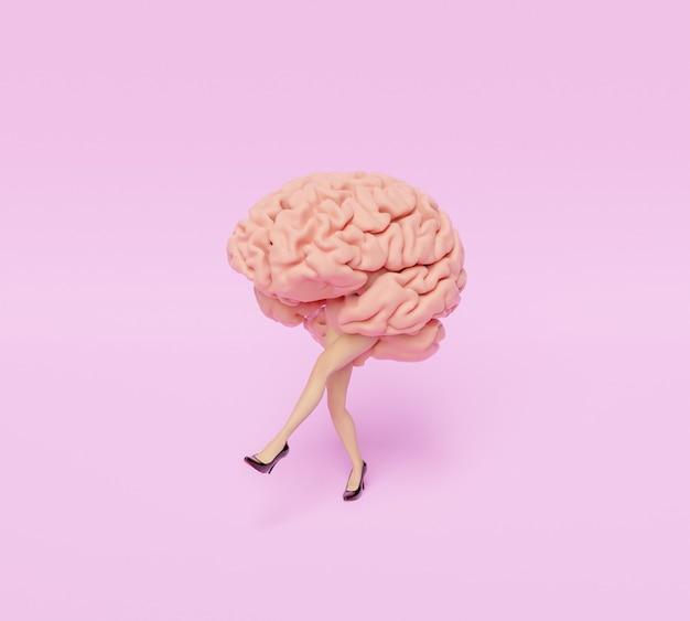 Cérebro com pernas e saltos femininos estilizados