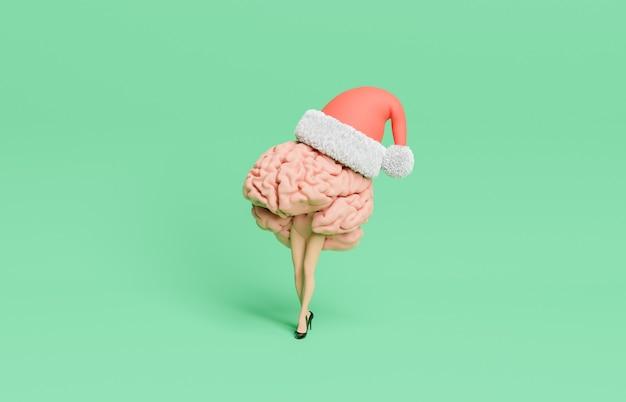 Cérebro com pernas estilizadas, salto alto e chapéu de natal