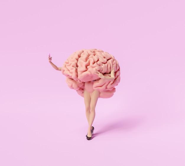 Cérebro com pernas femininas estilizadas e calcanhares tirando uma selfie