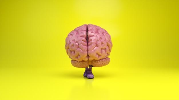 Cérebro dançante sobre um fundo colorido amarelo. conceito de inteligência artificial. animação 3d de um loop contínuo