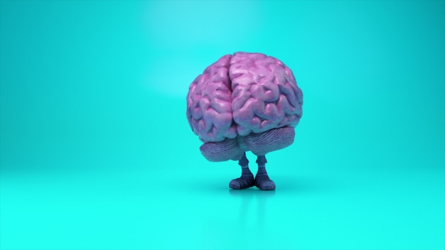 Cérebro dançante sobre um fundo turquesa colorido. conceito de inteligência artificial. animação 3d de um loop contínuo