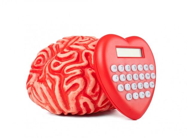 Cérebro de borracha humana com coração de calculadora em forma