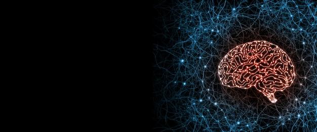Cérebro de circuito cibernético artificial dentro do sistema de nervos humanos.