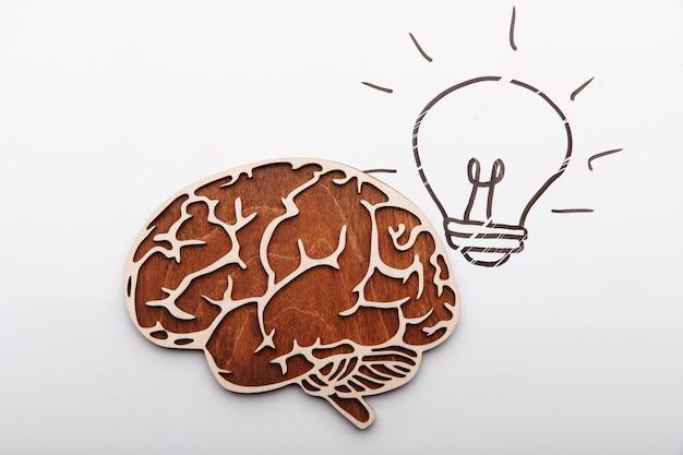 Cérebro de conceito de solução de ideia e imagem de lâmpada em um fundo branco
