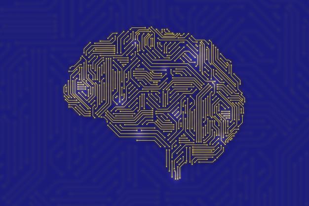 Cérebro digital para o conceito de tecnologia de ia