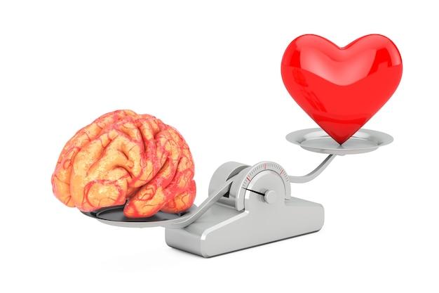 Cérebro e coração vermelho sobre a escala de equilíbrio simples em um fundo branco. renderização 3d