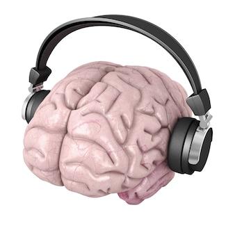 Cérebro humano, com, fones