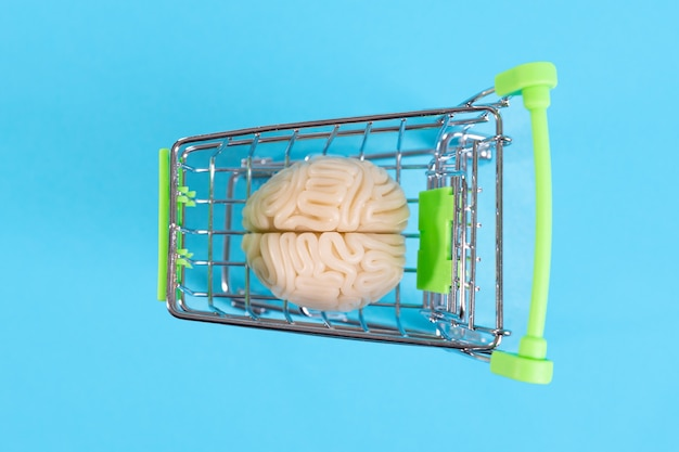 Cérebro humano de plástico em um carrinho de compras em um espaço azul, comprando inteligência