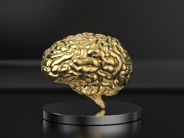 Cérebro humano dourado de renderização 3d em fundo preto