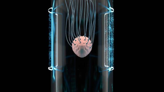 Cérebro humano em tubo de vidro de laboratório científico sci fi