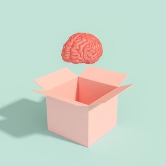 Cérebro humano saindo de uma caixa.