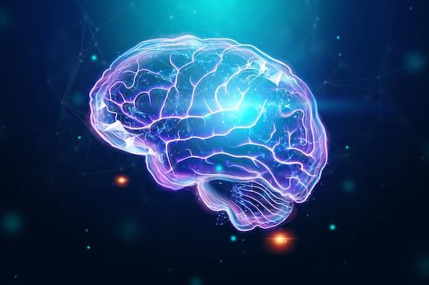 Cérebro humano, um holograma, um fundo escuro.