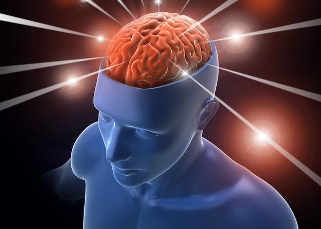Cérebro na cabeça recebendo raios de informação - renderização em 3d