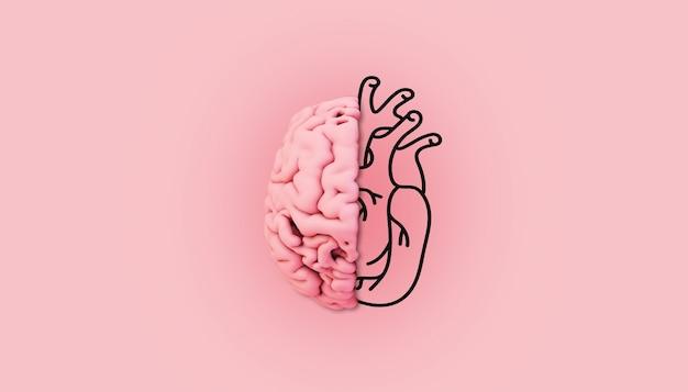 Cérebro rosa mínimo com ilustração coração renderização em 3d