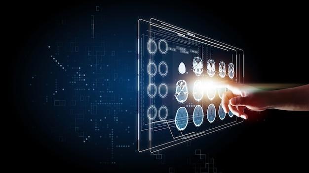 Cérebro tomografia computadorizada e imagem do raio x mão tocando conceito gráfico de informação de tecnologia futurista