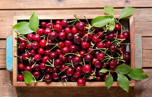 Cerejas frescas com folhas em caixa de madeira, vista superior