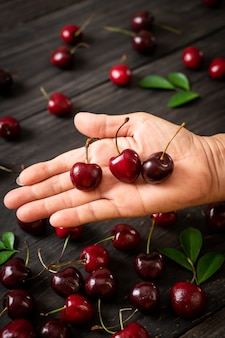 Cerejas frescas na mão