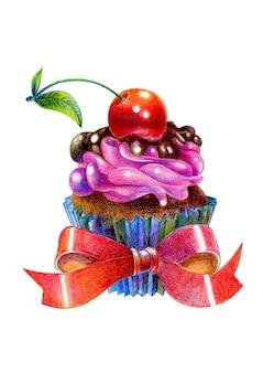 Cerejas no bolo. ilustração desenhada com lápis de cor.