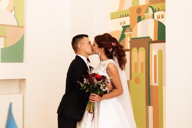 Cerimônia de casamento em uma pintura de cartório, casamento.