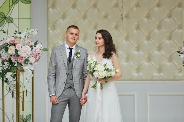 Cerimônia de casamento, noiva e noivo no dia do casamento