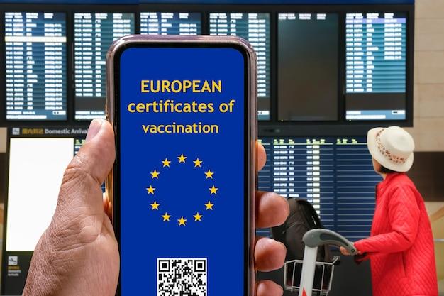 Certificado digital de vacinação da covid em telefone móvel