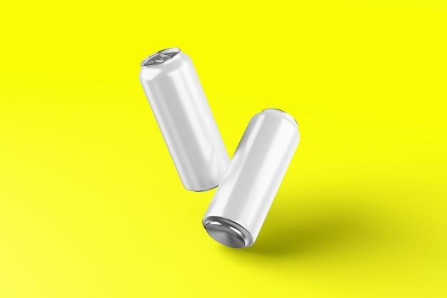 Cerveja de alumínio frio em branco pode maquete com gotas, renderização em 3d. embalagem vazia de lata de refrigerante fresca simulada com condensado, isolado. adequado para o seu projeto de design de bebida gotejante em lata.