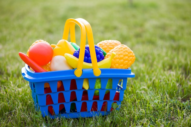 Cesta colorida plástica brilhante com brinquedo frutas e legumes ao ar livre num dia ensolarado de verão