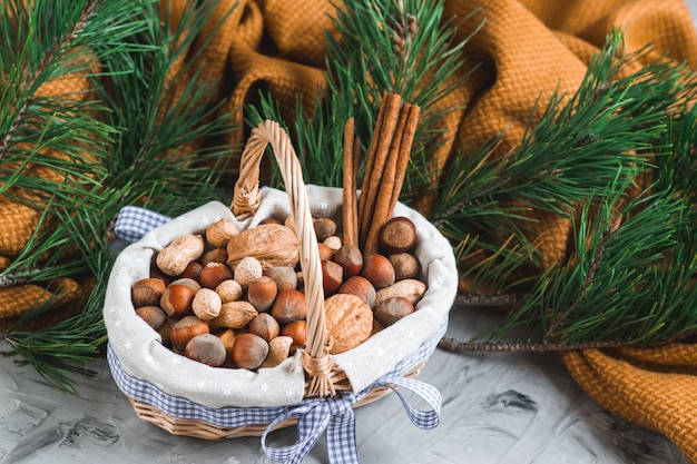 Cesta com sortidas sortidas nozes amendoins nozes avelãs ramo de pinheiro cobertor amarelo aconchegante conceito saudável