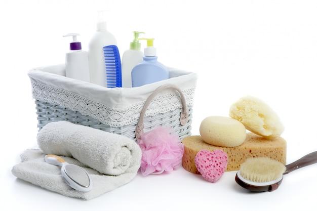 Cesta de artigos de banho com gel de banho